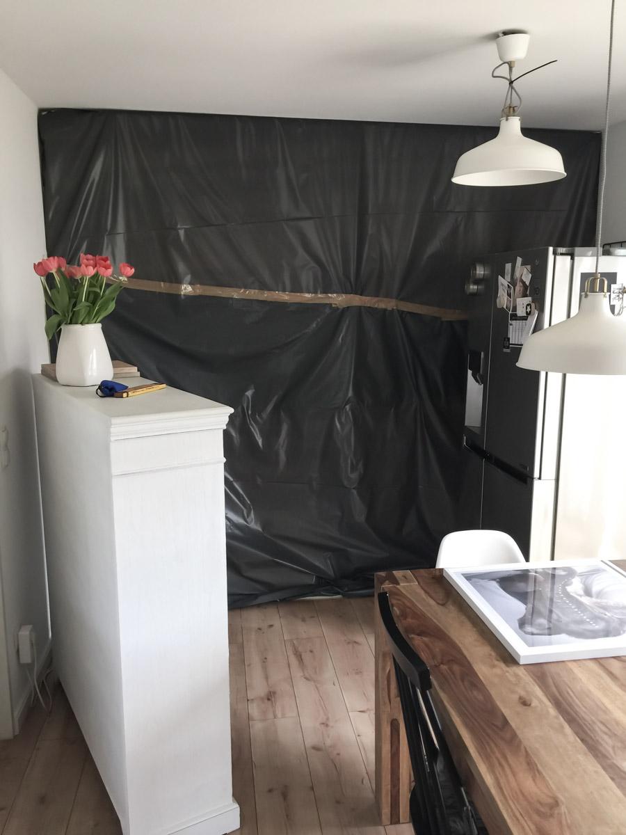 Küchen-Makeover Schutzwand zum Wohnzimmer