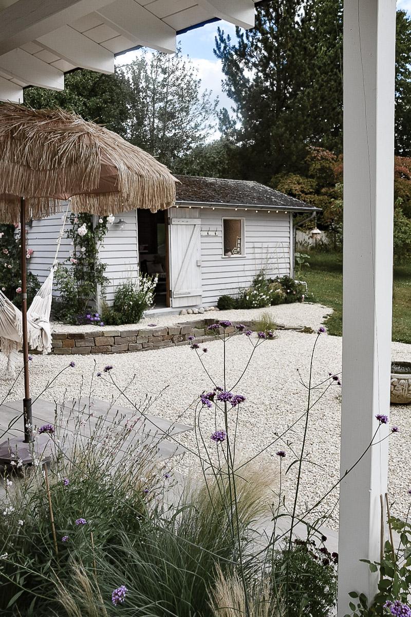 Gartenhütte Ansicht von der Terrasse
